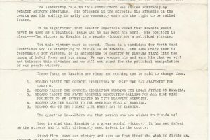 thumbnail of Frank Megaro Campaign Flyer on Kawaida Towers (1974)