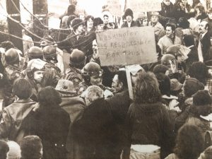 """Newark police attempted 11/27 to escort laborers through a crowd of 300 angry pickets to the North Ward building site of Kawaida Towers, a high rise backed by black nationalist Imamu Amiri Baraka (LeRoi Jones). The workers left after two tries at getting them through the crowd failed."" -- Credit: UPI/The Daily Worker"