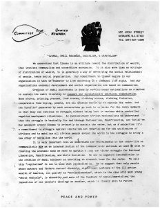 """Newsletter from Amiri Baraka and Committee For Unified Newark on """"Ujamaa, Small Business, Socialism, and Capitalism."""" CFUN was a cultural nationalist organization established in 1968 by Amiri Baraka aimed at achieving Black political power in Newark. -- Credit: The Black Power Movement, Pt. 1 (microfilm)"""