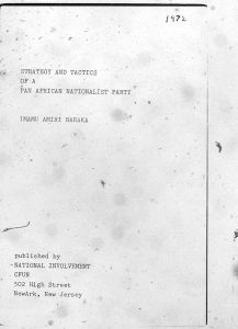 """Booklet written by Amiri Baraka, titled """"Strategy and Tactics of a Pan African Nationalist Party,"""" and published by the Committee For Unified Newark (CFUN). CFUN was a cultural nationalist organization established in 1968 by Amiri Baraka aimed at achieving Black political power in Newark. -- Credit: The Black Power Movement, Pt. 1 (microfilm)"""