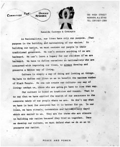 "Newsletter from Amiri Baraka and Committee For Unified Newark (CFUN) on the customs and concepts of ""Kawaida,"" a cultural nationalist ideology and movement. CFUN was a cultural nationalist organization established in 1968 by Amiri Baraka aimed at achieving Black political power in Newark. -- Credit: The Black Power Movement, Pt. 1 (microfilm)"