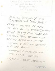Flyer distributed by the United Afro American Association (UAAA) in 1967, announcing a meeting on police brutality and intimidation. Led by Willie Wright, the UAAA played a leading role in protesting police brutality and white vigilante violence following the 1967 Newark Rebellion. -- Credit: New Jersey State Archives