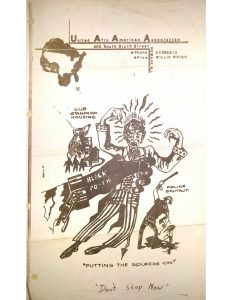 Poster distributed by the United Afro American Association (UAAA) in 1967. Led by Willie Wright, the UAAA was a relatively small organization, but garnered much attention for Wright's militant rhetoric following the 1967 Newark Rebellion. -- Credit: New Jersey State Archives