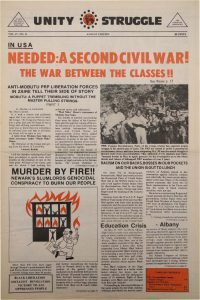 Volume 4, Number 11 of Unity and Struggle, the national newspaper of the Congress of Afrikan People (CAP), published in August 1975. Unity and Struggle was one of several media outlets developed by Amiri Baraka to promote Black cultural nationalism in Newark and the nation. -- Credit: NYU Tamiment Library
