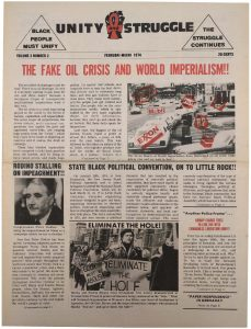 Volume 3, Number 2 of Unity and Struggle, the national newspaper of the Congress of Afrikan People (CAP), published in February-March 1974. Unity and Struggle was one of several media outlets developed by Amiri Baraka to promote Black cultural nationalism in Newark and the nation. This was the first edition of the national newspaper, after replacing the local Black NewArk. -- Credit: NYU Tamiment Library