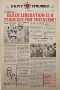 Volume 4, Number 2 of Unity and Struggle, the national newspaper of the Congress of Afrikan People (CAP), published in January 1975. Unity and Struggle was one of several media outlets developed by Amiri Baraka to promote Black cultural nationalism in Newark and the nation.  -- Credit: NYU Tamiment Library