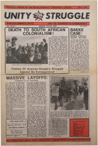 Volume 7, Number 1 of Unity and Struggle, the national newspaper of the Revolutionary Communist League (formerly the Congress of Afrikan People), published in January 1978. Unity and Struggle was one of several media outlets developed by Amiri Baraka to promote Black cultural nationalism in Newark and the nation. -- Credit: NYU Tamiment Library