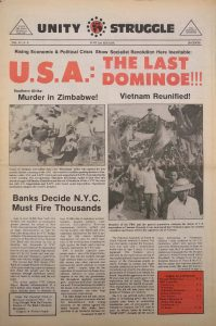 Volume 4, Number 9 of Unity and Struggle, the national newspaper of the Congress of Afrikan People (CAP), published in June 1975. Unity and Struggle was one of several media outlets developed by Amiri Baraka to promote Black cultural nationalism in Newark and the nation. -- Credit: NYU Tamiment Library