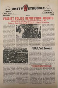 Volume 3, Number 3 of Unity and Struggle, the national newspaper of the Congress of Afrikan People (CAP), published in March 1974. Unity and Struggle was one of several media outlets developed by Amiri Baraka to promote Black cultural nationalism in Newark and the nation.  -- Credit: NYU Tamiment Library
