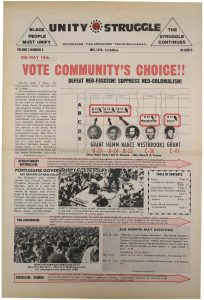 Volume 3, Number 5 of Unity and Struggle, the national newspaper of the Congress of Afrikan People (CAP), published in May 1974. Unity and Struggle was one of several media outlets developed by Amiri Baraka to promote Black cultural nationalism in Newark and the nation.  -- Credit: NYU Tamiment Library