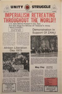 Volume 4, Number 7 of Unity and Struggle, the national newspaper of the Congress of Afrikan People (CAP), published in May 1975. Unity and Struggle was one of several media outlets developed by Amiri Baraka to promote Black cultural nationalism in Newark and the nation. -- Credit: NYU Tamiment Library