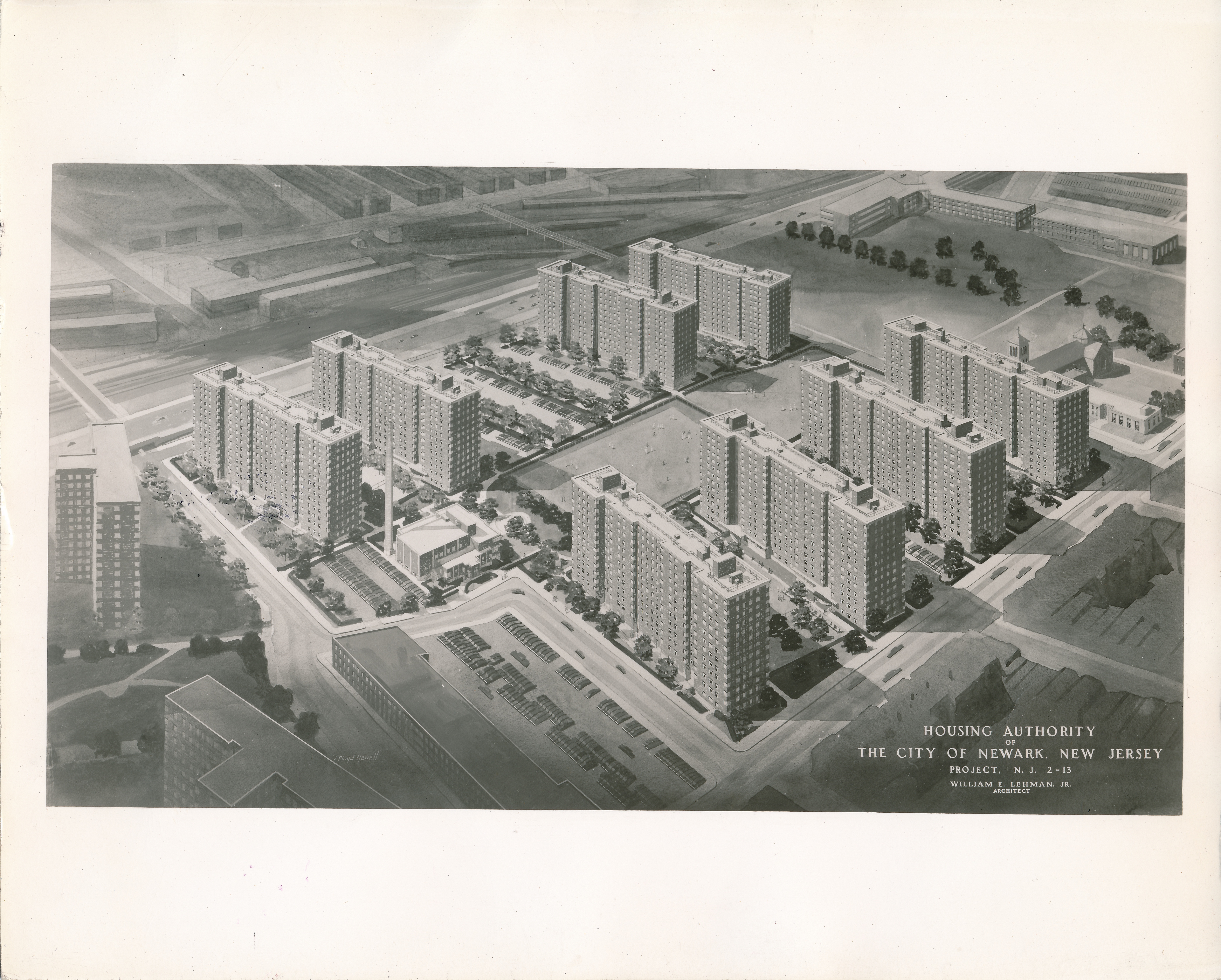 Artist Rendering of the Columbus Homes 1953 The North