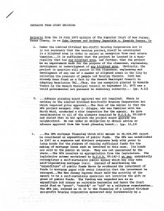 Excerpts from the July 10, 1973 Superior Court of New Jersey decision in John Cervase and Anthony Imperiale v Kawaida Towers, Inc. Kawaida Towers, a high-rise housing project that Baraka planned to build in Newark's predominantly white North Ward, was met by fierce opposition from white residents and politicians, in and out of the courts. -- Credit: Seton Hall University Libraries