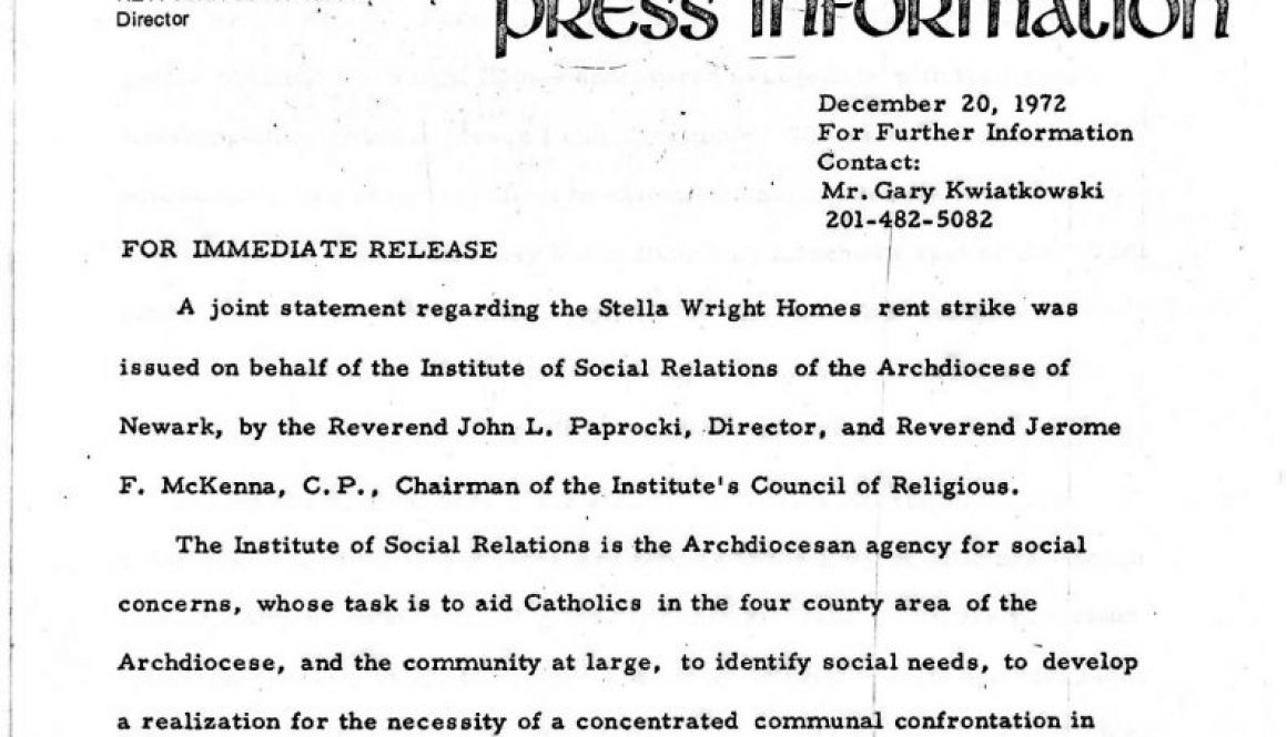 thumbnail of Institute of Social Relations Press Release on Stella Wright Rent Strike (Dec 20, 1972)