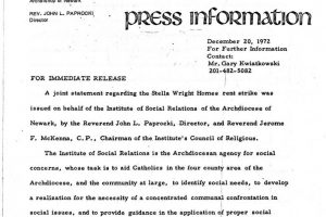 Institute of Social Relations Press Release on Stella Wright Rent Strike (Dec 20, 1972)
