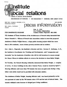 Press release on the Stella Wright Rent Strike, issued by the Archdiocese of Newark's Institute of Social Relations on February 6, 1974. In the release, the Institute of Social Relations demanded Mayor Ken Gibson take action to prevent the shutdown of Stella Wright Homes.  -- Credit: Seton Hall University Libraries