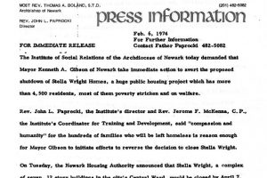 Institute of Social Relations Press Release on Stella Wright Rent Strike (Feb 6, 1974)