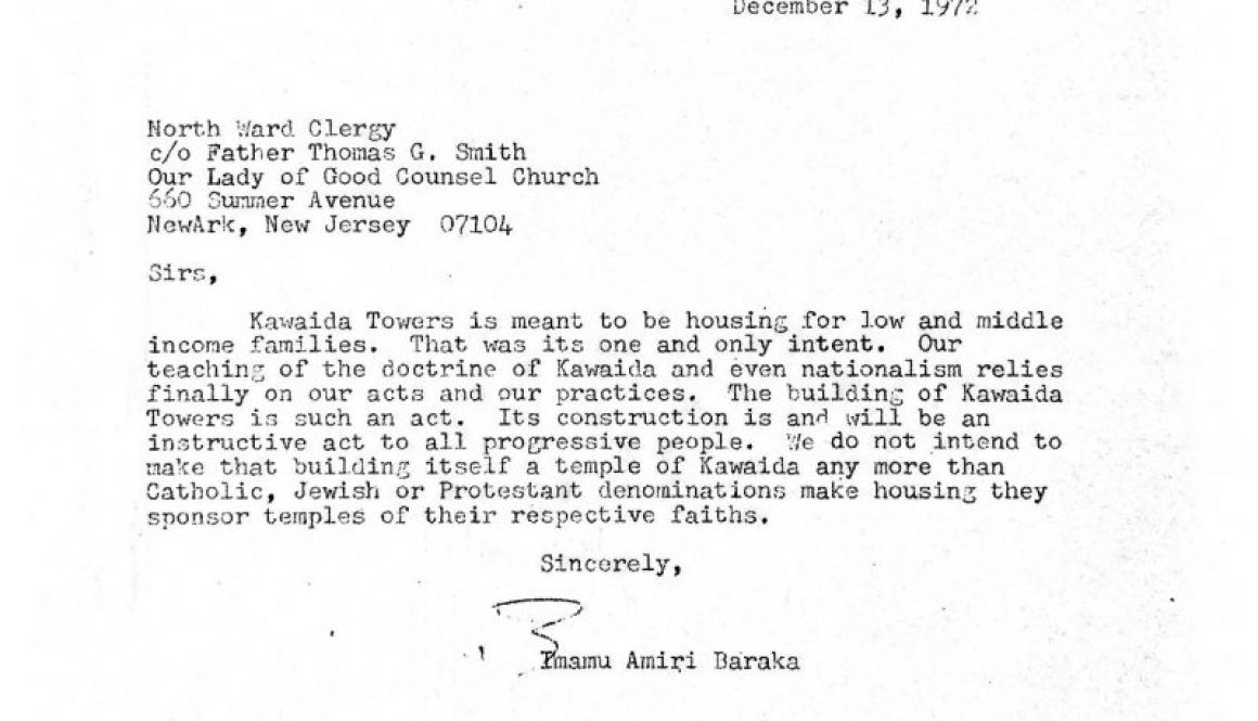 thumbnail of Letter from Amiri Baraka to North Ward Clergy (Dec 13, 1972)