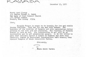Letter from Amiri Baraka to North Ward Clergy (Dec 13, 1972)