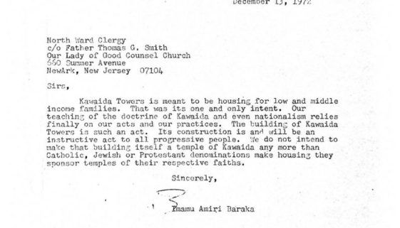 thumbnail of Letter from Amiri Baraka to North Ward Clergy (Dec 13, 1972)