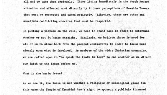 thumbnail of Letter from Clergy in Support of Kawaida Towers (undated)