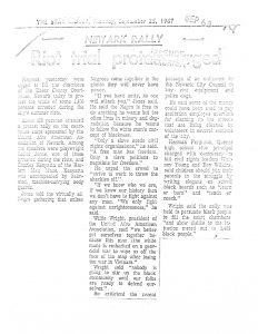 Article from the Star-Ledger on September 25, 1967, covering a rally at the Essex County Court House to protest the arrests of 1,400 Newark residents during the 1967 Newark Rebellion. The rally drew 150 people to the Essex County Court House, and featured speeches by militant leaders Amiri Baraka, Charles Kenyatta, Wille Wright, and Herman Ferguson. -- Credit: The Star Ledger