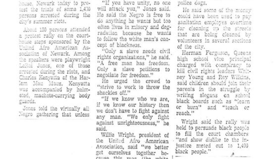 thumbnail of Newark Rally- Riot trial protest urged (Star Ledger Sept 25, 1967)