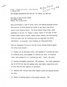 Press release issued by the North Ward Clergy Group on January 1, 1973, providing the results of their fact-finding about the Kawaida Towers housing project. Kawaida Towers, a high-rise housing project that Baraka planned to build in Newark's predominantly white North Ward, was met by fierce opposition from white residents and politicians. -- Credit: Seton Hall University Libraries