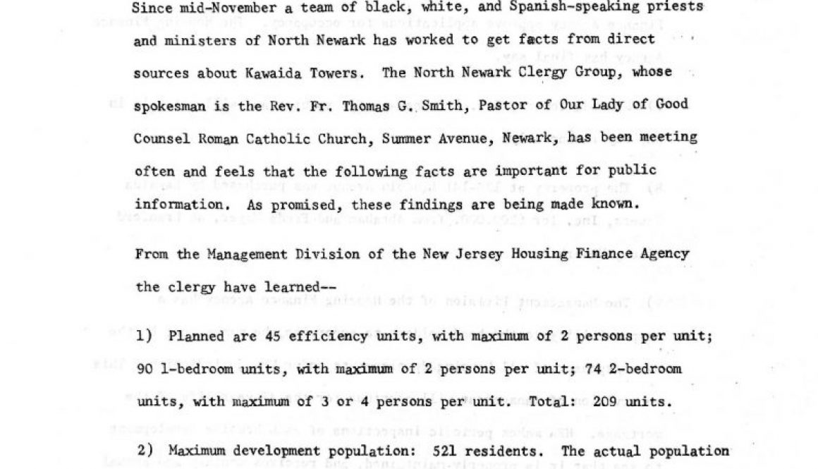 thumbnail of North Ward Clergy Group Press Release on Kawaida Towers (undated)