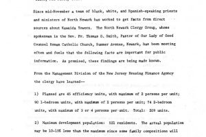 North Ward Clergy Group Press Release on Kawaida Towers (undated)