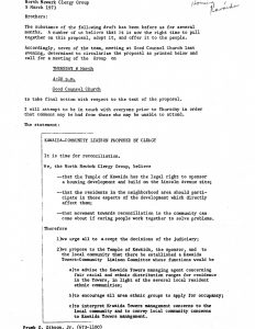 Letter from the North Ward Clergy Group on March 5, 1973, regarding their proposed Kawaida-Community Liaison Program. Kawaida Towers, a high-rise housing project that Baraka planned to build in Newark's predominantly white North Ward, was met by fierce opposition from white residents and politicians. -- Credit: Seton Hall University Libraries