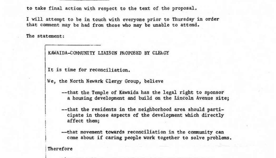 thumbnail of North Ward Clergy Group Proposal for Kawaida-Community Liaison (March 5, 1973)