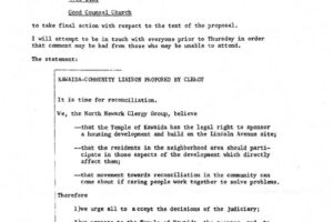 North Ward Clergy Group Proposal for Kawaida-Community Liaison (March 5, 1973)