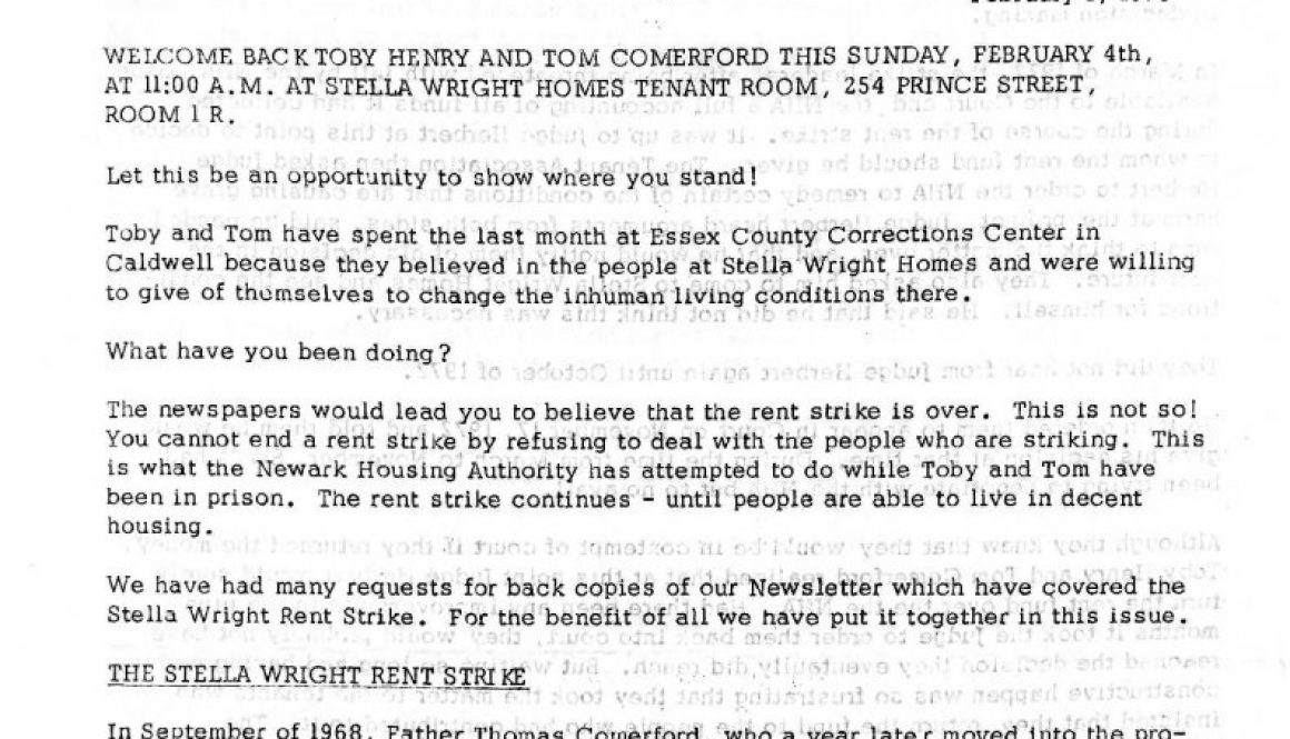 thumbnail of Operation Understanding Newsletter on Stella Wright Rent Strike (Feb 1, 1973)