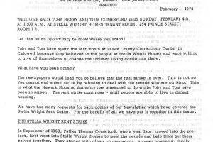 Operation Understanding Newsletter on Stella Wright Rent Strike (Feb 1, 1973)