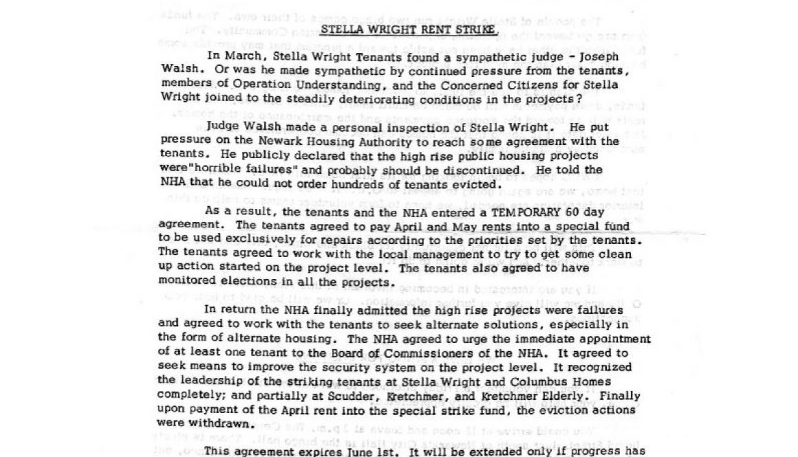 thumbnail of Operation Understanding Newsletter on Stella Wright Rent Strike (June 1973)