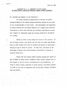 Statement made by Newark Housing Authority director, Louis Danzig, before the New Jersey Committee on Civil Rights on June 29, 1966. In his statement, Danzig offered his views on the state of public housing in Newark as it related to the civil rights of the city's Black populations. -- Credit: City of Newark Archives and Record Management