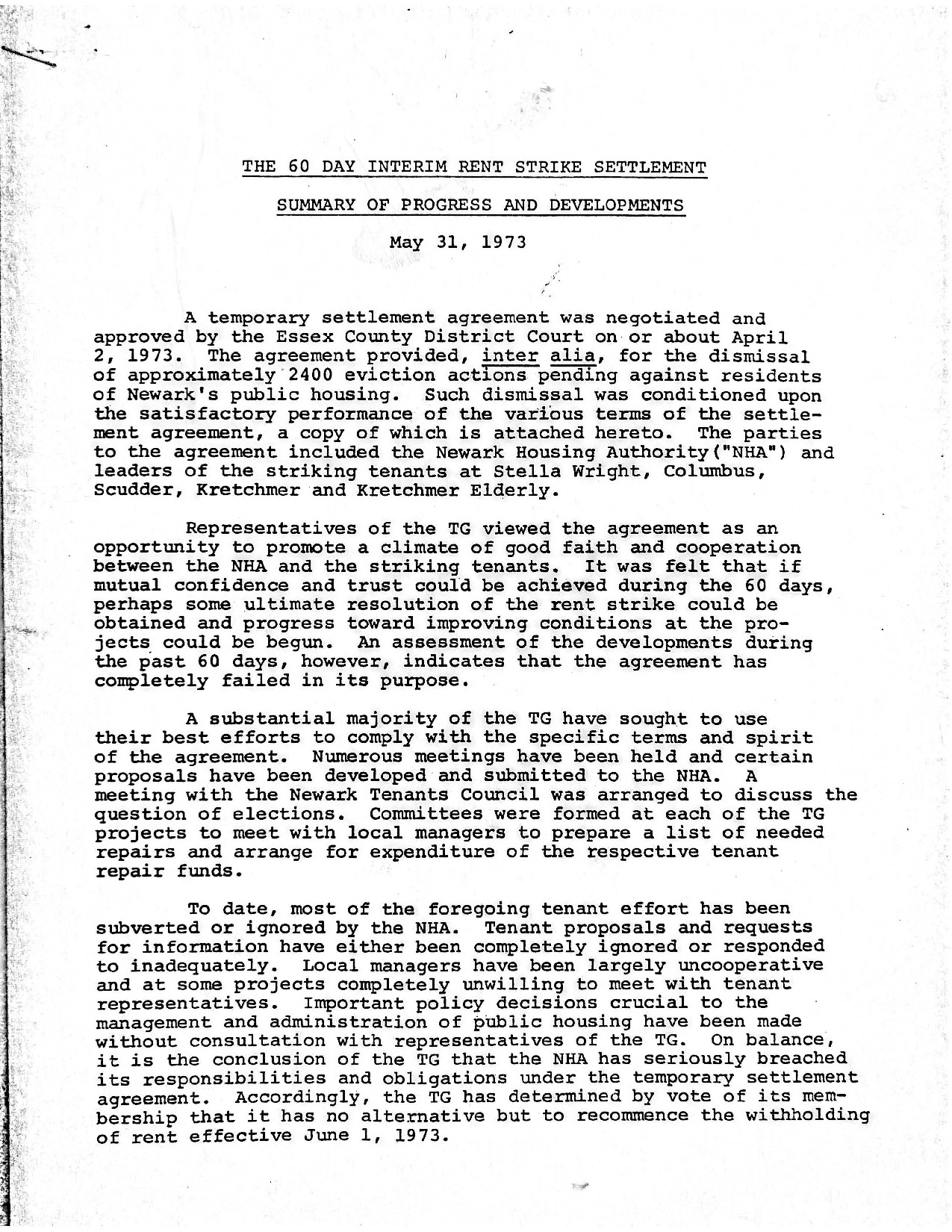 The 60 Day Interim Rent Strike Settlement (May 31, 1973)