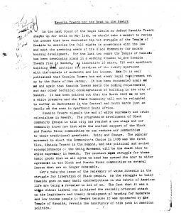 Brief article written around 1974 by a member of the Committee For Unified Newark providing an overview and analysis of the struggle to build Kawaida Towers. The article explains the political significance of the development of Kawaida Towers for CFUN and CAP's larger vision of community development and political power. -- Credit: The Black Power Movement, Pt. 1 (microfilm)