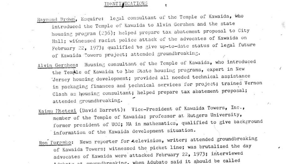 Roster of People Involved with Kawaida Towers