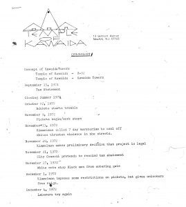 Timeline of events during the struggle over the construction of Kawaida Towers, compiled by Amiri Baraka's Temple of Kawaida. The timeline spans from 1971-1973 and covers the major conflicts over Kawaida Towers, the proposed public housing project in the predominantly white North Ward. -- Credit: The Black Power Movement, Pt. 1 (microfilm)