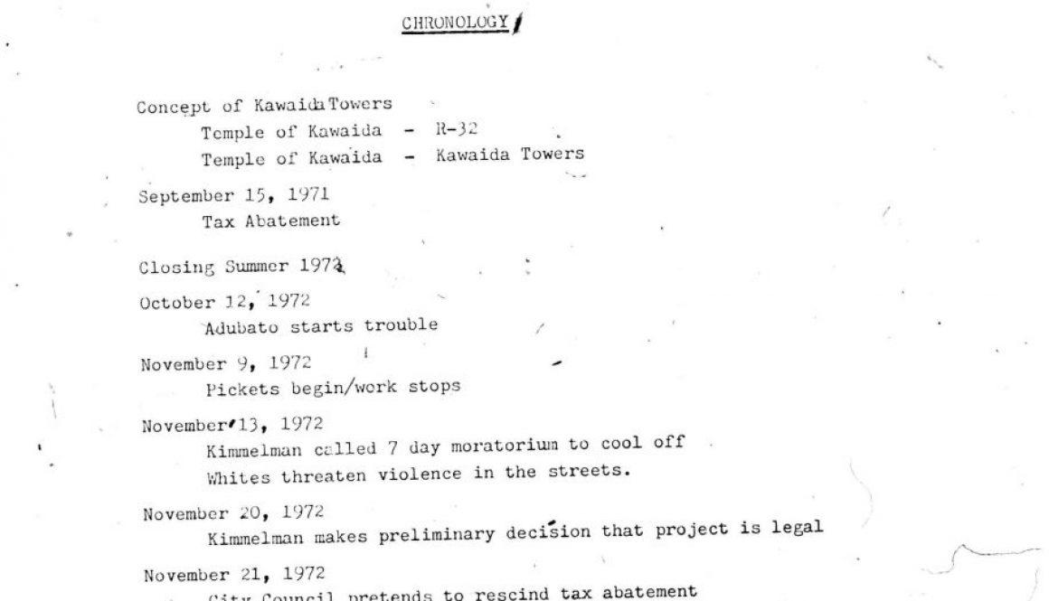 Temple of Kawaida- Chronology of Kawaida Towers (1973)