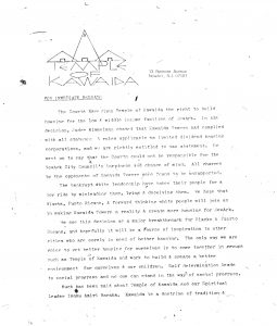 Press release issued by Amiri Baraka's Temple of Kawaida in late 1972 announcing the ruling of Judge Irwin Kimmelman in favor of tax abatement for Kawaida Towers. Kawaida Towers, a high-rise housing project that Baraka planned to build in Newark's predominantly white North Ward, was met by fierce opposition from white residents and politicians. -- Credit: The Black Power Movement, Pt. 1 (microfilm)
