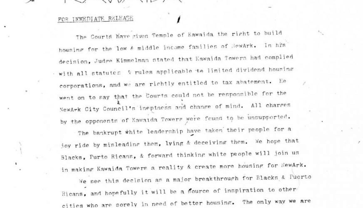 Temple of Kawaida Press Release (1972)