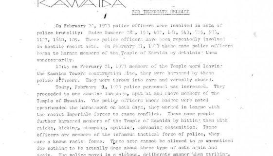 Thumbnail- Temple of Kawaida Press Release (Feb 22, 1973)