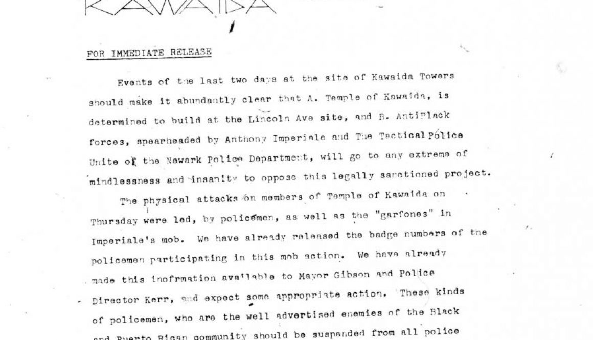 Temple of Kawaida Press Release (July 1973)