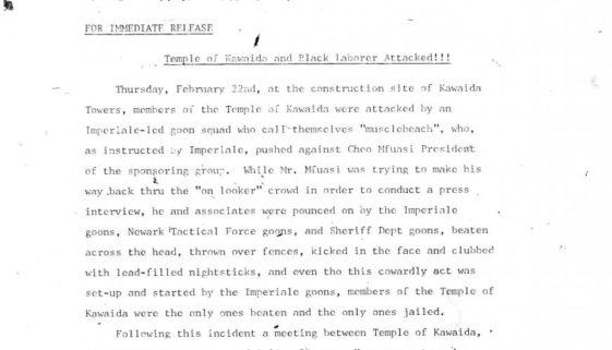 Thumbnail- Temple of Kawaida Press Release (March 1973)
