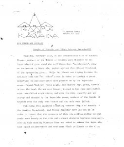 Press release issued by Amiri Baraka's Temple of Kawaida in March 1973 describing acts of mob violence against Black laborers and members of the Temple of Kawaida at the Kawaida Towers construction site. Kawaida Towers, a high-rise housing project that Baraka planned to build in Newark's predominantly white North Ward, was met by fierce opposition from white residents and politicians. -- Credit: The Black Power Movement, Pt. 1 (microfilm)