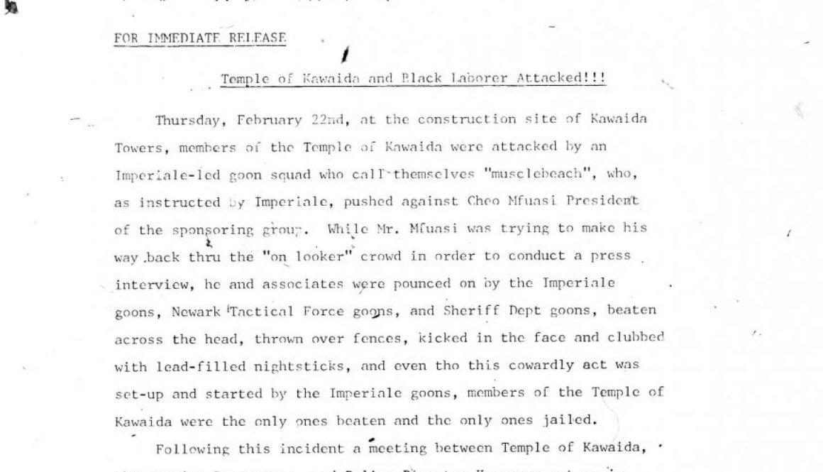 Temple of Kawaida Press Release (March 1973)