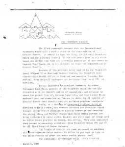 Press release issued by Amiri Baraka's Temple of Kawaida on March 6, 1973 criticizing the National Teamsters Union for supporting white opposition to the construction of Kawaida Towers. Kawaida Towers, a high-rise housing project that Baraka planned to build in Newark's predominantly white North Ward, was met by fierce opposition from white residents and politicians. -- Credit: The Black Power Movement, Pt. 1 (microfilm)